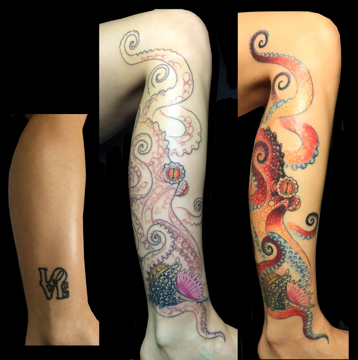 octopus cover-up, atx, michael norris, tattoo small